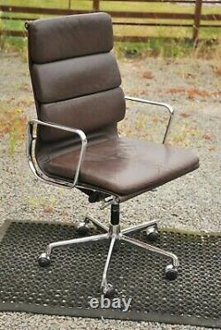 Charles Eames Vitra Brown Leather Softpad Chair Vintage Ea219 Office Le8