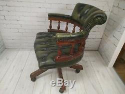 Chesterfield Antique Green Luxury Captains Chair Leather Vintage Swivel & Tilt