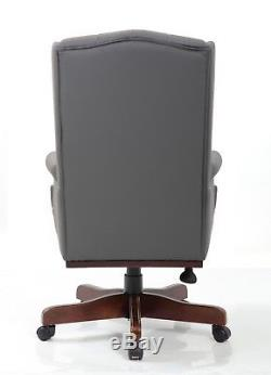Chesterfield Antique Style Captains Managers Office Desk Leather Computer Chair
