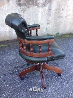 Chesterfield Captains Desk Chair In Green Leather / Office Chair