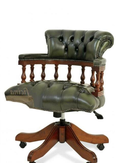 Chesterfield Captains Desk Office Chair Antique Green (swivel)