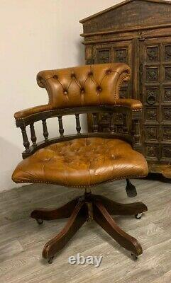 Chesterfield Captains Office Chair In Very Rare Antique Saddle Tan