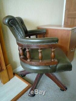 Chesterfield Captains Refurbished Olive Leather Swivel Seat Office Chair