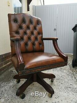 Chesterfield Captains Style Leather Office Chair