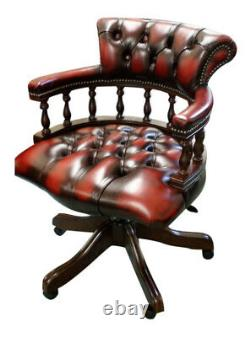 Chesterfield Captains Swivel Desk Chair Office chair Antique Red