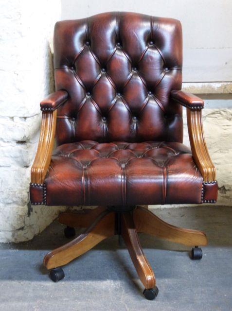 Chesterfield Captains Swivel Office Chair In Oxblood Red Leather Delivery Poss