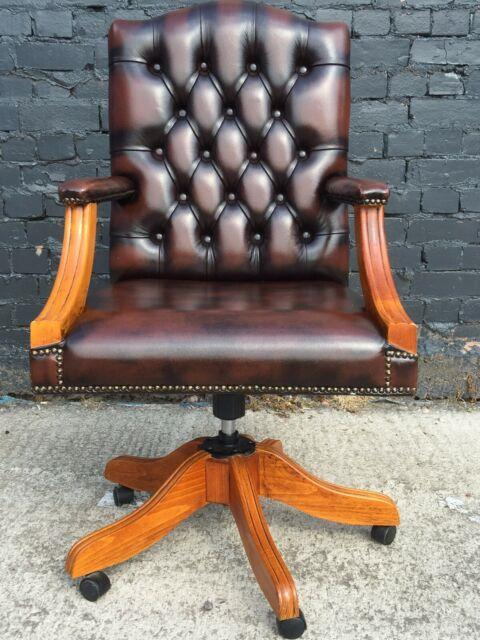 Chesterfield Gainsborough Swivel Tilt Office Desk Captains Chair Brown Leather