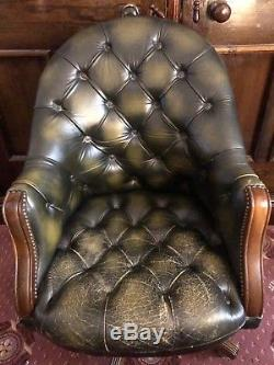 Chesterfield Green Leather Directors Office Desk Chair