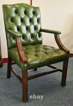 Chesterfield Green Leather Georgian Style Gainsborough Library / Office Chair