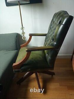 Chesterfield Green Leather Office Chair Free Delivery In London