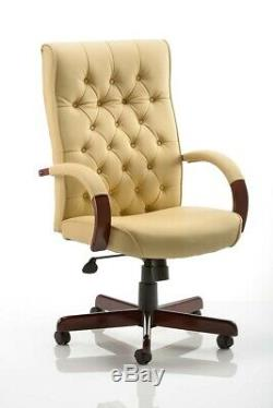 Chesterfield Leather Gainsborough Style Captains Chair Office Desk Chair 150kg