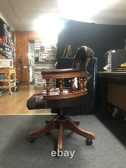 Chesterfield Maroon leather swivel office chair captains Admiral Red NEEDS TLC