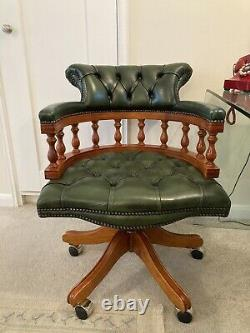 Chesterfield Style Captain Office Chair Armchair Green Leather Swivel Chair