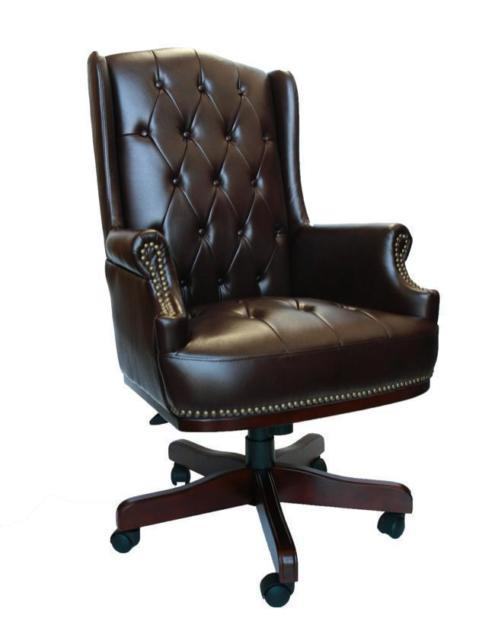 Chesterfield Style Executive Brown Office Desk Leather Computer Chair Furniture