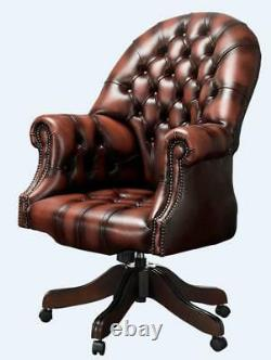 Chesterfield Vintage Directors Swivel Office Chair Antique Rust Leather