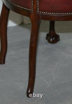 Claw & Ball Cabriolet Leg Oxblood Leather Small Chair Or Stool Office Or Desk