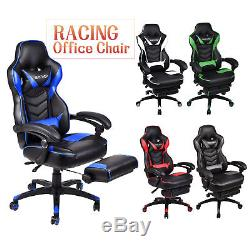 Computer Gaming Chair Racing Leather Sport Office Desk Seat Recliner Footrest