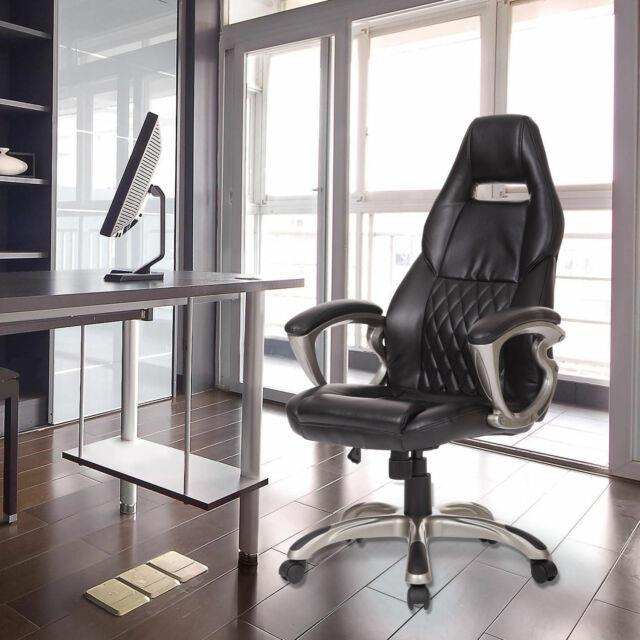 Computer Office Racing Chair Faux Leather Pu Chair Swivel Furniture