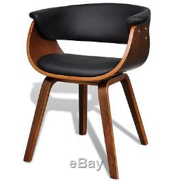 Contemporary Dining Chair Retro Arm Seat Black Faux Leather Living Room Office
