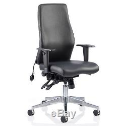 Coral High Black Leather Office Chair
