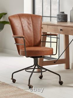 Cox & Cox Industrial Style Tan Faux Leather Padded Office Chair RRP £325