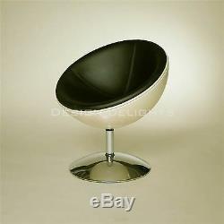 DESIGNER SHELL CHAIR white-white retro lounge design, bowl armchair, stool