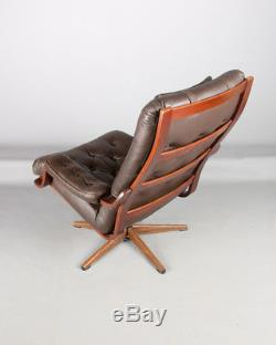 Danish Westnofa style swivel chair, retro office chair Mid Century Brown leather