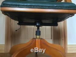 Dark Green Leather Chesterfield Style Captain Swivel Desk Chair Desk/ Office