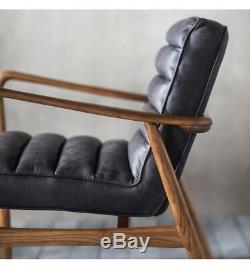 Datsun Armchair Antique Ebony Leather Lounge Office Mid Century Modern Retro