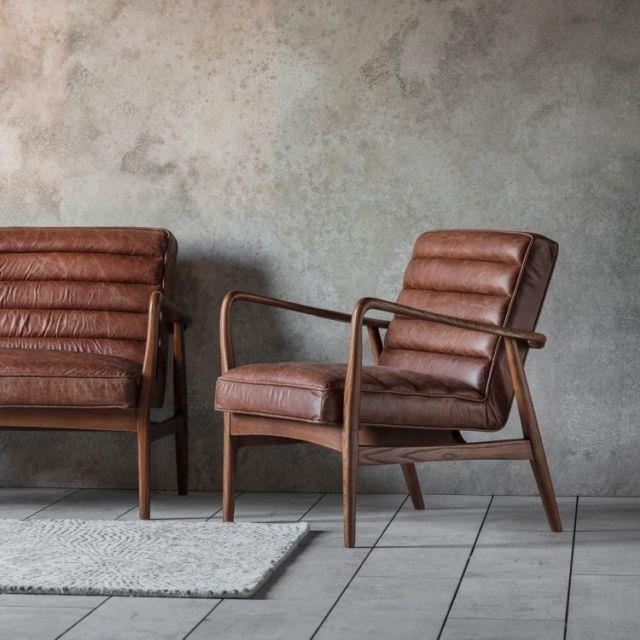 Datsun Vintage Brown Armchair Lounge Office Genuine Leather Upholstery Chair