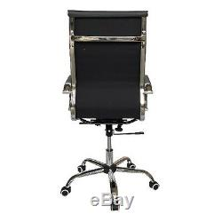 Designer High Back Ribbed Leather Computer Office Chair Grey