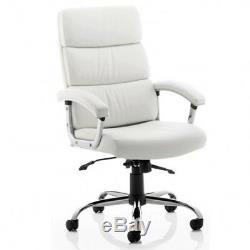 Desire Executive Office Chair White or Black Leather With Arms + Headrest