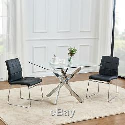 Dining Table and 2/4 Chairs Rectangle Glass Faux Leather Modern Furniture Office