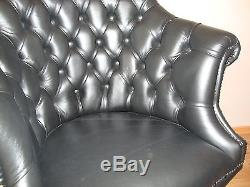 Directors Chesterfield office swivel chair. Brand new! Black leather! Handmade