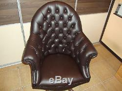 Directors Chesterfield office swivel chair. Brand new! Leather! Handmade