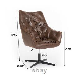 Distressed Tan PU Leather Swivel Computer Chair Computer Office Leisure Armchair