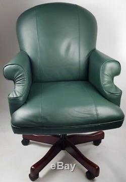 Dynamic Condor Green Leather Executive Office Chair Mahogany Base Luxury