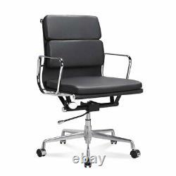 EA217 EA219 Aluminium Office Chair Low High Back SoftPad Genuine Italian Leather