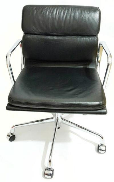 Eames Herman Miller Black Leather Soft Padgenuine