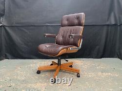 EB1849 Giroflex Oak & Brown Leather Office Chair Mid-Century Modern Desk Seating