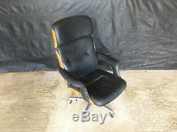 EB570 Black Leather & Rosewood Office Chair Danish Interiors Retro Mid-Century