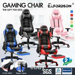 ELFORDSON Gaming Office Chair Racing Executive Footrest Computer Seat PU Leather