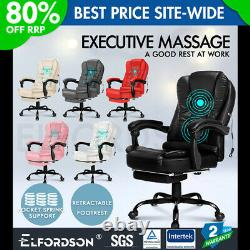ELFORDSON Massage Office Chair with Footrest Executive Gaming Seat PU Leather