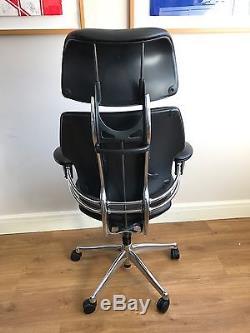 Executive Chrome/ Black Leather Humanscale Freedom Ergonomic Office Chair