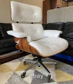 Eames Lounge Repro Office / Gaming Chair White Leather & Palisander UNIQUE