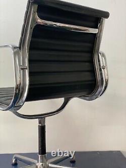 Eames Original ICF EA108 Aluminium Medium Back, Black Leather Office Chair