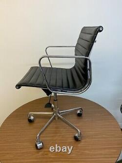 Eames Original ICF EA117 Aluminium Medium Back, Black Leather Office Chair