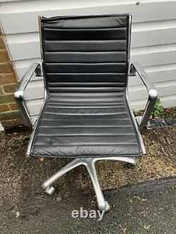 Eames Style ICF EA108 Aluminium Medium Back, Black Leather Office Chair