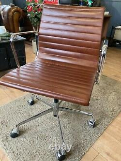 Eames Style Office Chair Brown Leather