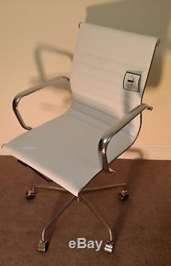 Eames Style Ribbed Black or White Office Chair Leather Swivel Computer chairs